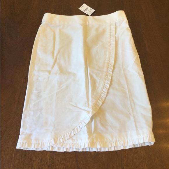 JCREW White Cotton Ruffle Trim Skirt NWT